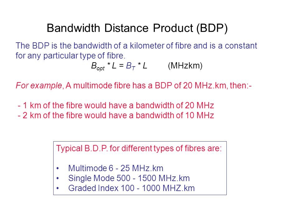 Bandwidth Distance Product (BDP) The BDP is the bandwidth of a kilometer of fibre and is a constant for any particular type of fibre. B opt * L = B T