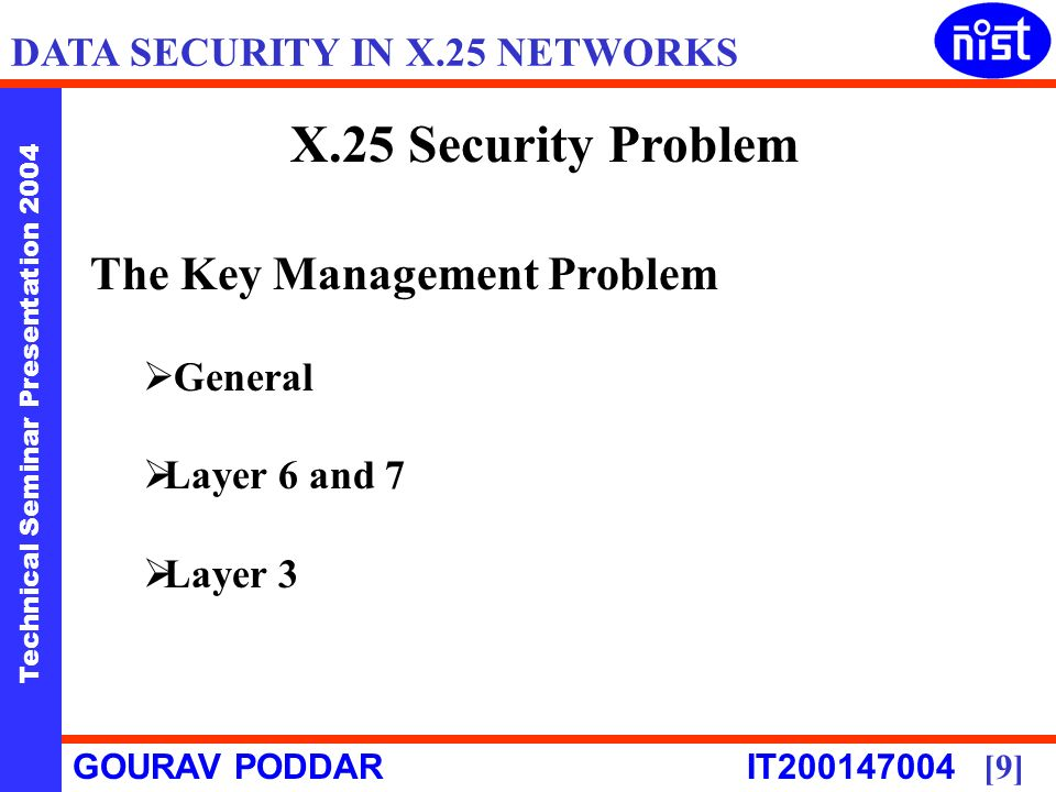 Technical Seminar Presentation 2004 GOURAV PODDAR IT [9] DATA SECURITY IN X.25 NETWORKS X.25 Security Problem The Key Management Problem General Layer 6 and 7 Layer 3