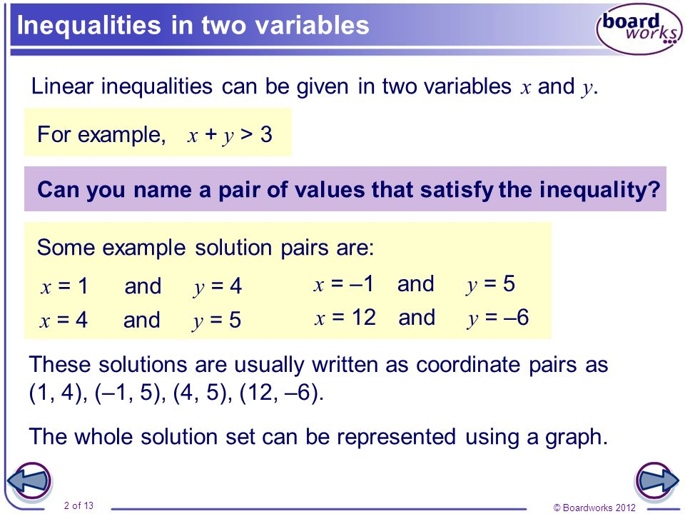 © Boardworks 2012 2 of 13 Inequalities in two variables Linear inequalities can be given in two variables x and y. x + y > 3 Can you name a pair of va