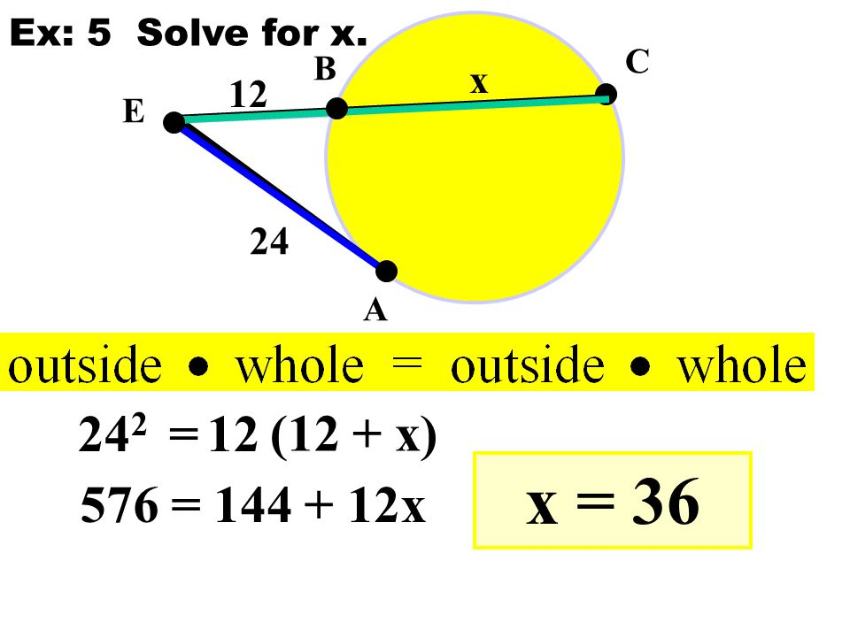 E A B C 24 12 x 24 2 =12 (12 + x) 576 = 144 + 12x x = 36 Ex: 5 Solve for x.