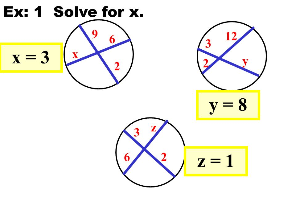 9 2 6 x x = 3 3 2 12 y y = 8 3 26 z z = 1 Ex: 1 Solve for x.