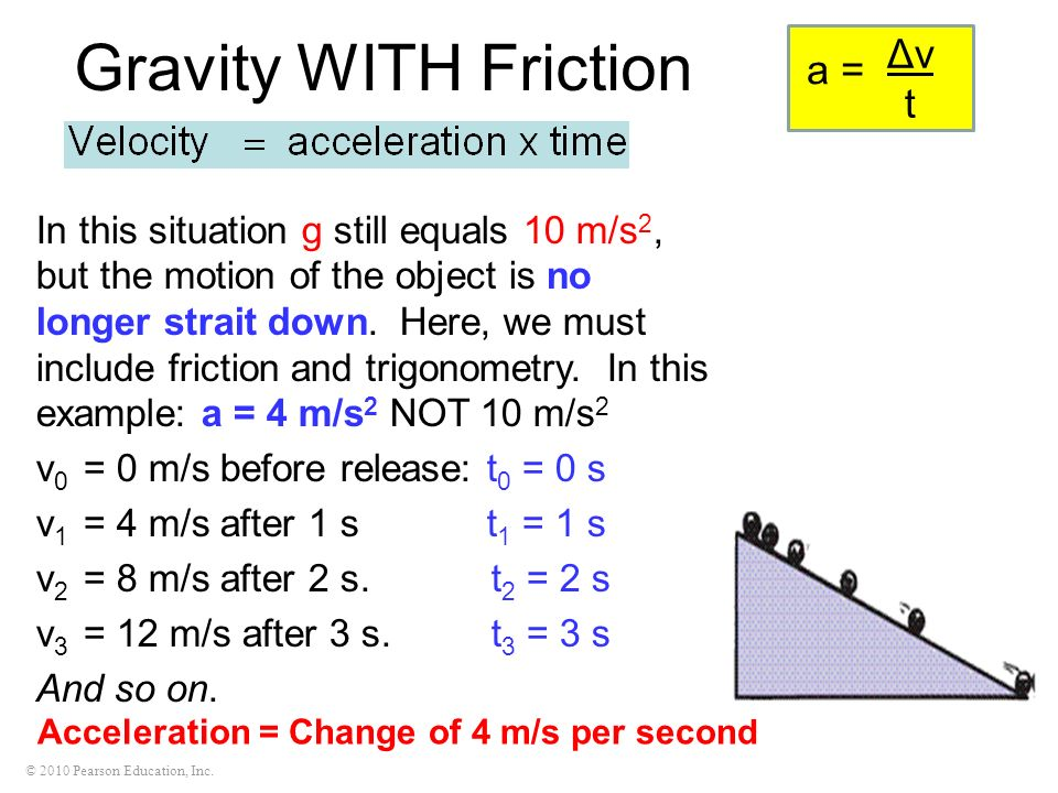 © 2010 Pearson Education, Inc. Gravity WITH Friction In this situation g still equals 10 m/s 2, but the motion of the object is no longer strait down.