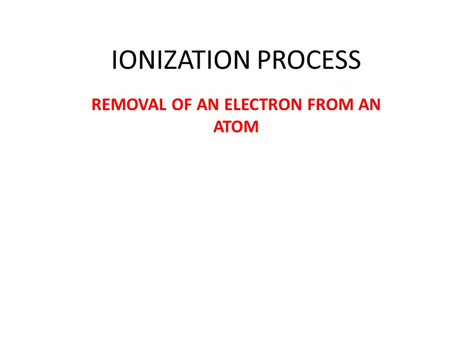 IONIZATION PROCESS REMOVAL OF AN ELECTRON FROM AN ATOM