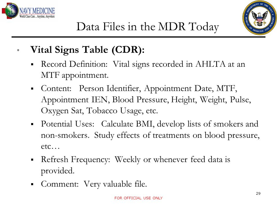 Data Files in the MDR Today Vital Signs Table (CDR): Record Definition: Vital signs recorded in AHLTA at an MTF appointment. Content: Person Identifie