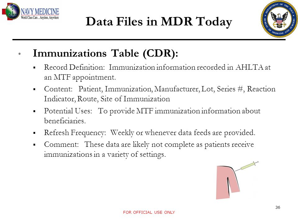Data Files in MDR Today Immunizations Table (CDR): Record Definition: Immunization information recorded in AHLTA at an MTF appointment. Content: Patie
