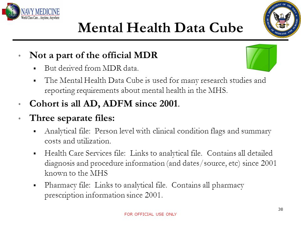 Mental Health Data Cube Not a part of the official MDR But derived from MDR data. The Mental Health Data Cube is used for many research studies and re