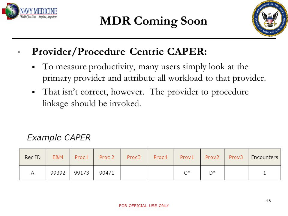 MDR Coming Soon Provider/Procedure Centric CAPER: To measure productivity, many users simply look at the primary provider and attribute all workload t