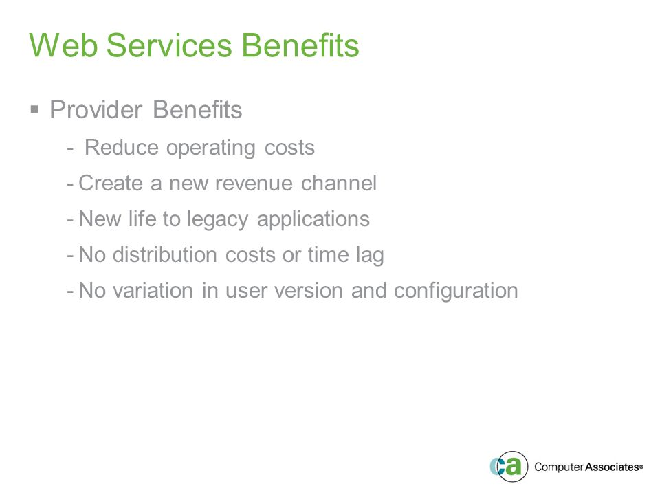 Web Services Benefits Provider Benefits - Reduce operating costs -Create a new revenue channel -New life to legacy applications -No distribution costs or time lag -No variation in user version and configuration