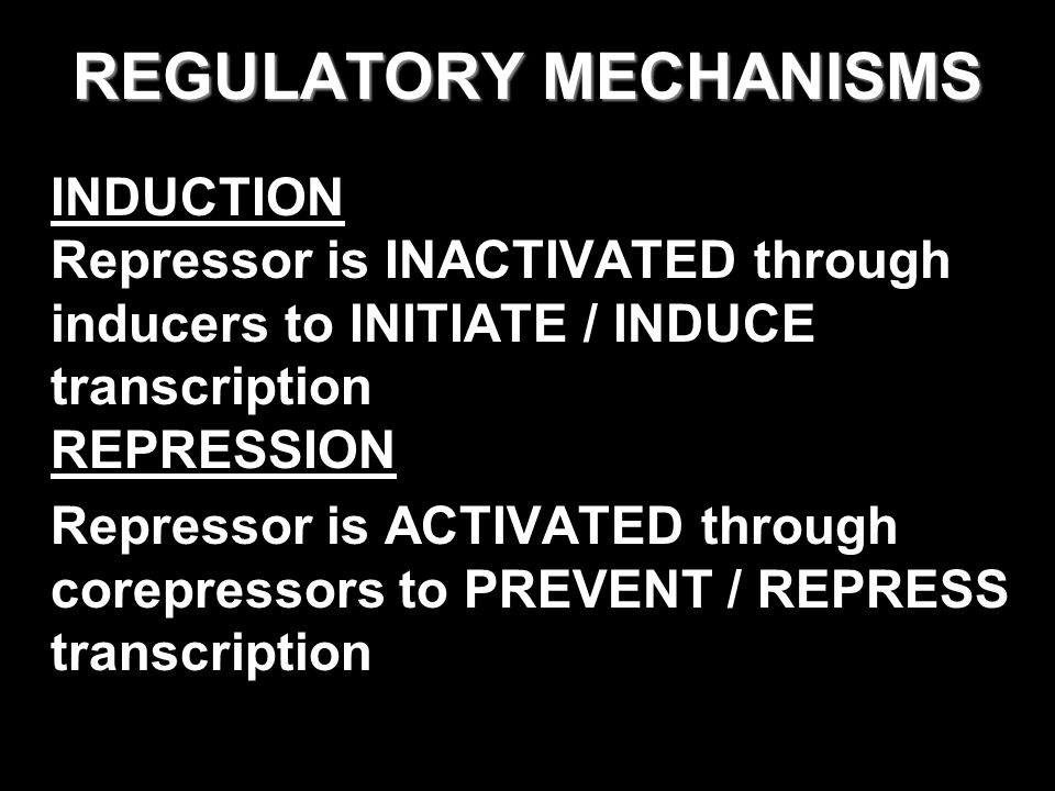 REGULATORY MECHANISMS INDUCTION Repressor is INACTIVATED through inducers to INITIATE / INDUCE transcription REPRESSION Repressor is ACTIVATED through