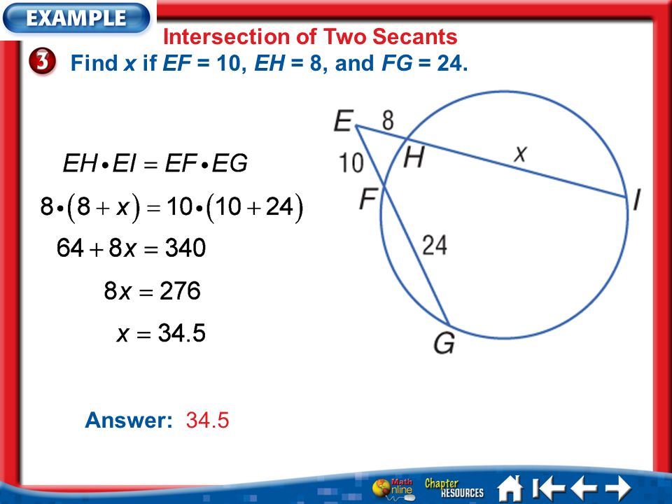 Lesson 7 Ex3 Intersection of Two Secants Find x if EF = 10, EH = 8, and FG = 24. Answer: 34.5