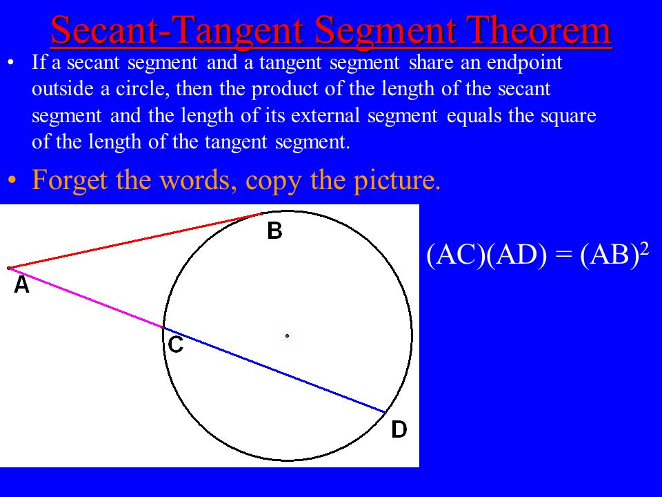 Secant-Tangent Segment Theorem Secant-Tangent Segment Theorem If a secant segment and a tangent segment share an endpoint outside a circle, then the p