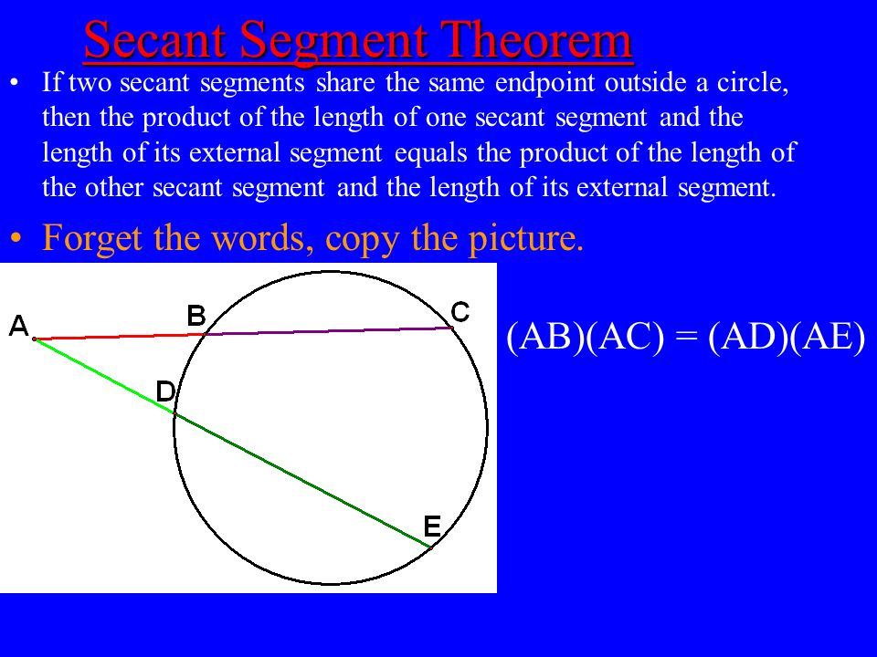 Secant Segment Theorem Secant Segment Theorem If two secant segments share the same endpoint outside a circle, then the product of the length of one s