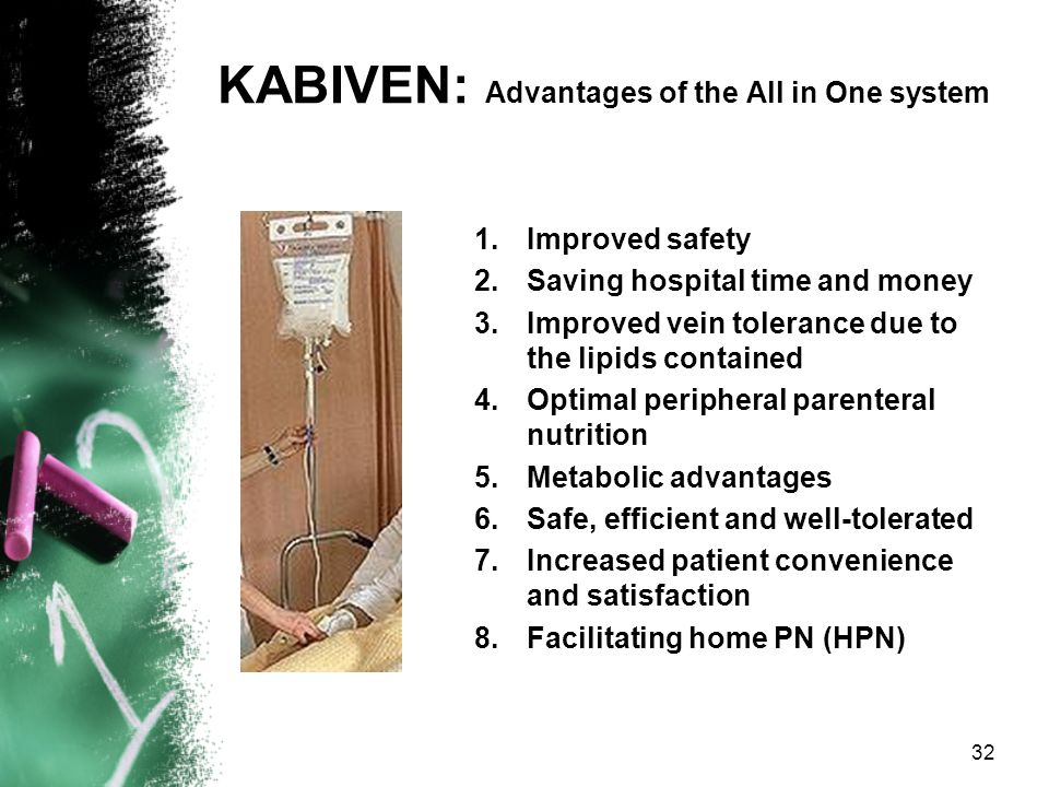 KABIVEN: 3 CHAMBER BAG ALL IN ONE means that all nutrients in a dose needed for 1 day, such as the amino acid solution, the glucose solution(s) and th