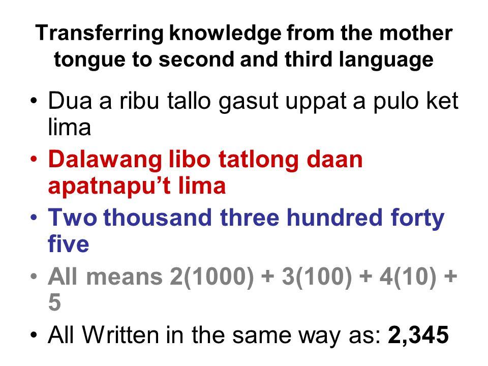 Transferring knowledge from the mother tongue to second and third language Dua a ribu tallo gasut uppat a pulo ket lima Dalawang libo tatlong daan apa