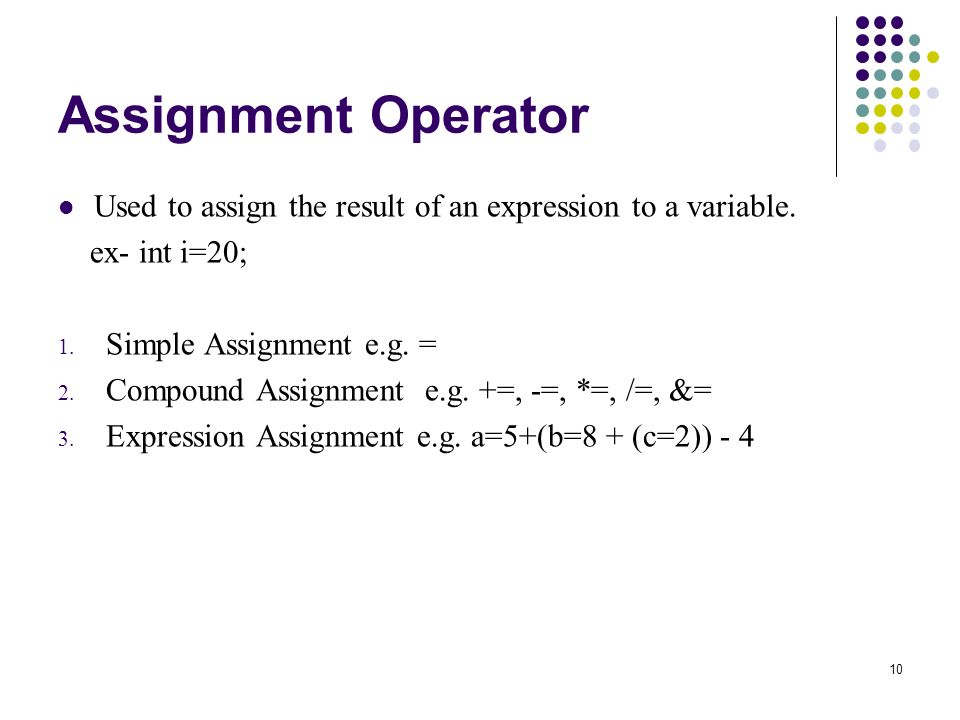 10 Assignment Operator Used to assign the result of an expression to a variable.