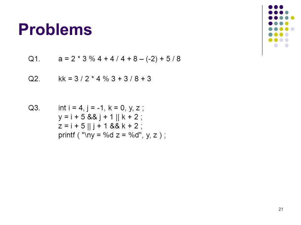Problems 21 Q1.