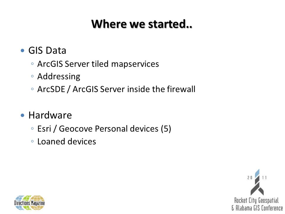 Where we started.. GIS Data ArcGIS Server tiled mapservices Addressing ArcSDE / ArcGIS Server inside the firewall Hardware Esri / Geocove Personal dev