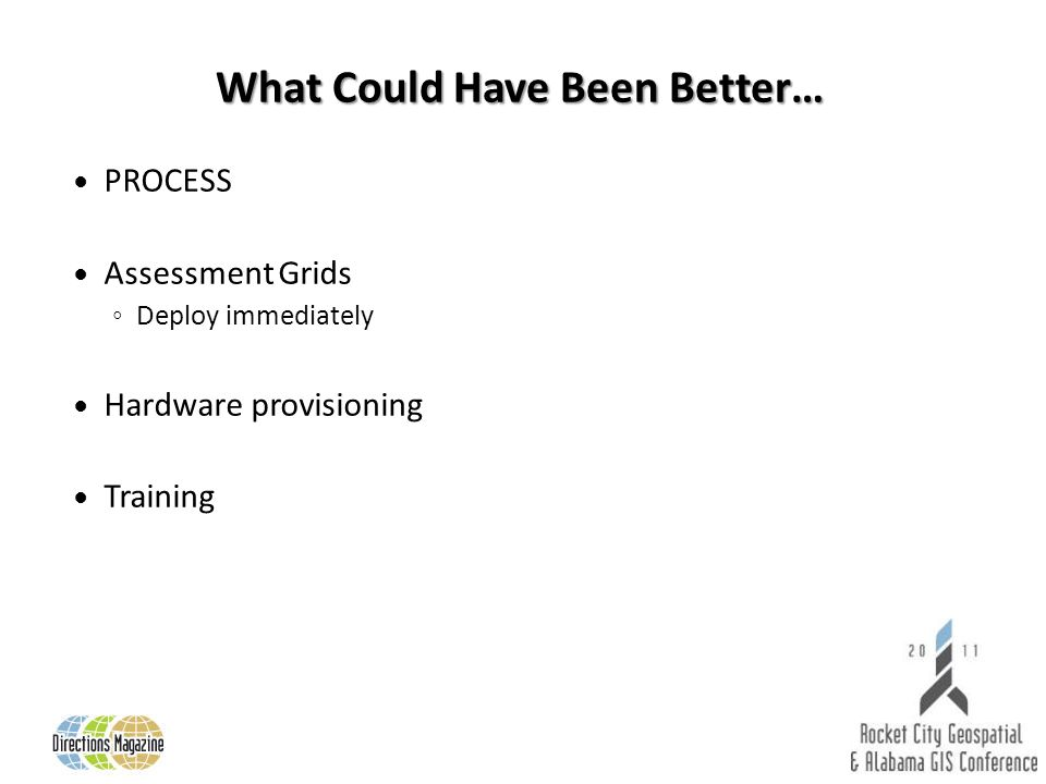 What Could Have Been Better… PROCESS Assessment Grids Deploy immediately Hardware provisioning Training