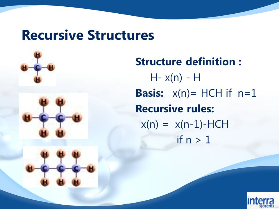 Structure definition : H- x(n) - H Basis: x(n)= HCH if n=1 Recursive rules: x(n) = x(n-1)-HCH if n > 1 Recursive Structures