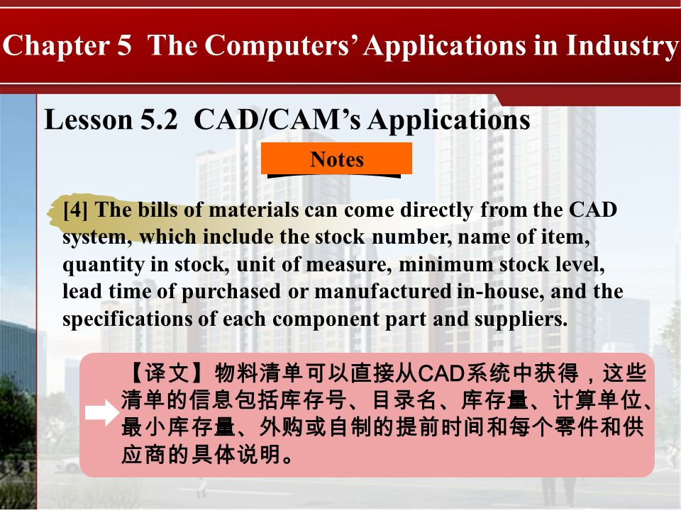CAD Chapter 5 The Computers Applications in Industry Lesson 5.2 CAD/CAMs Applications Notes [4] The bills of materials can come directly from the CAD system, which include the stock number, name of item, quantity in stock, unit of measure, minimum stock level, lead time of purchased or manufactured in-house, and the specifications of each component part and suppliers.