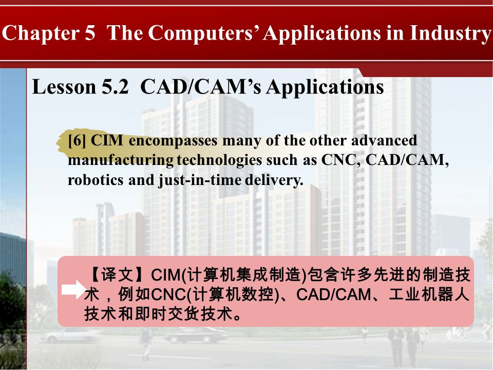 CIM( ) CNC( ) CAD/CAM Chapter 5 The Computers Applications in Industry Lesson 5.2 CAD/CAMs Applications [6] CIM encompasses many of the other advanced