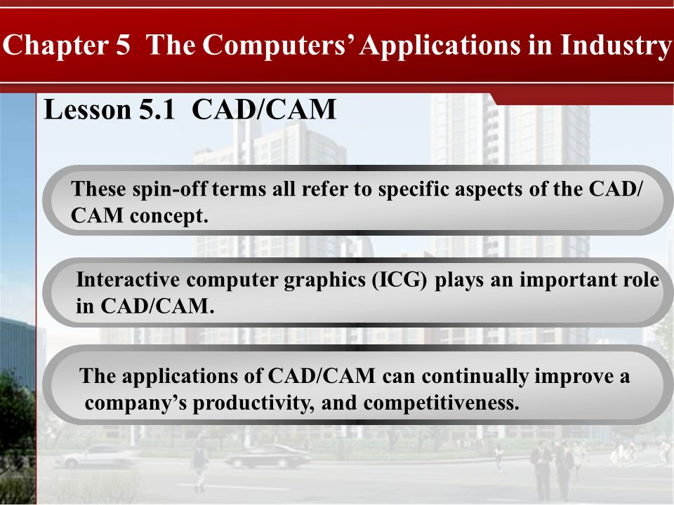 Lesson 5.1 CAD/CAM Chapter 5 The Computers Applications in Industry These spin-off terms all refer to specific aspects of the CAD/ CAM concept.