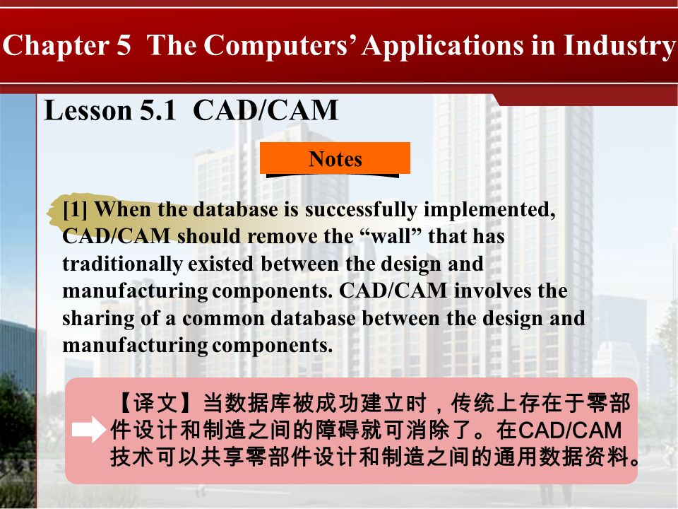 CAD/CAM Lesson 5.1 CAD/CAM Chapter 5 The Computers Applications in Industry Notes [1] When the database is successfully implemented, CAD/CAM should re