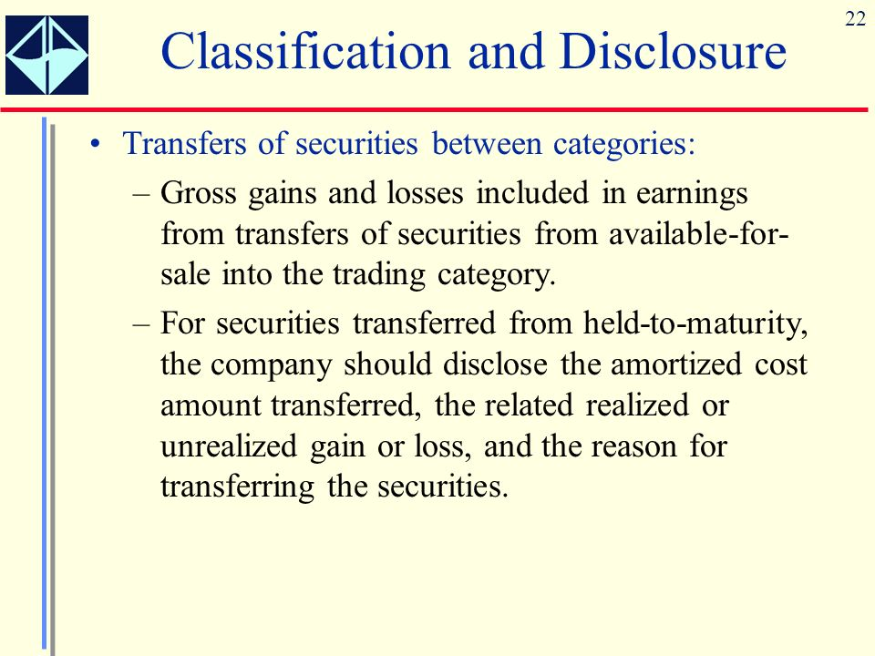 22 Transfers of securities between categories: –Gross gains and losses included in earnings from transfers of securities from available-for- sale into the trading category.