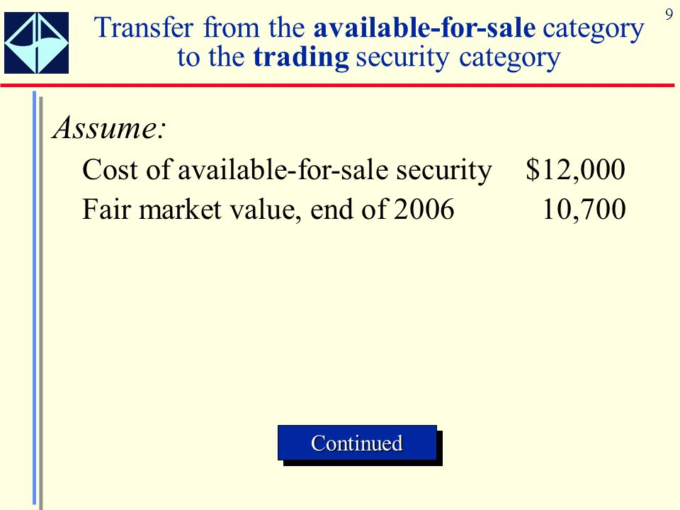 9 Transfer from the available-for-sale category to the trading security category Assume: Cost of available-for-sale security$12,000 Fair market value,