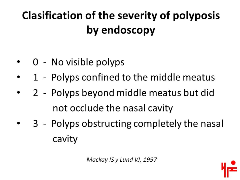 Clasification of the severity of polyposis by endoscopy 0 - No visible polyps 1 - Polyps confined to the middle meatus 2 - Polyps beyond middle meatus