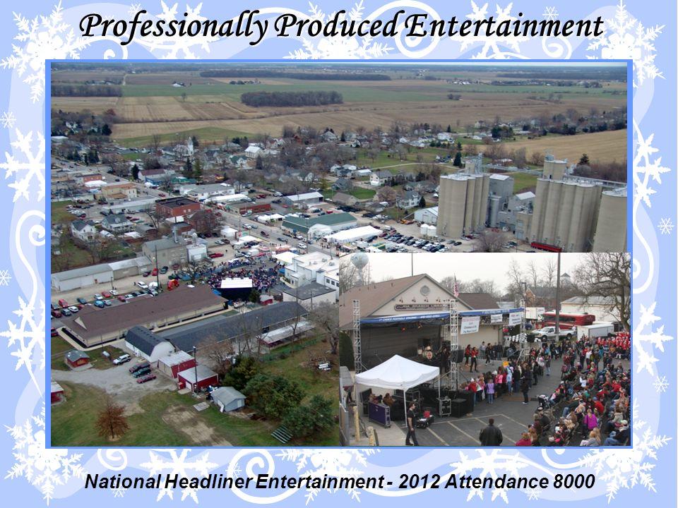 Professionally Produced Entertainment National Headliner Entertainment - 2012 Attendance 8000