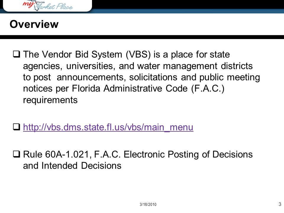 Page - 14 VBS -VBS Search Results are displayed with Title, Number, Version and Type -Links are provided in the Number Column to the solicitation documents 3/18/2010