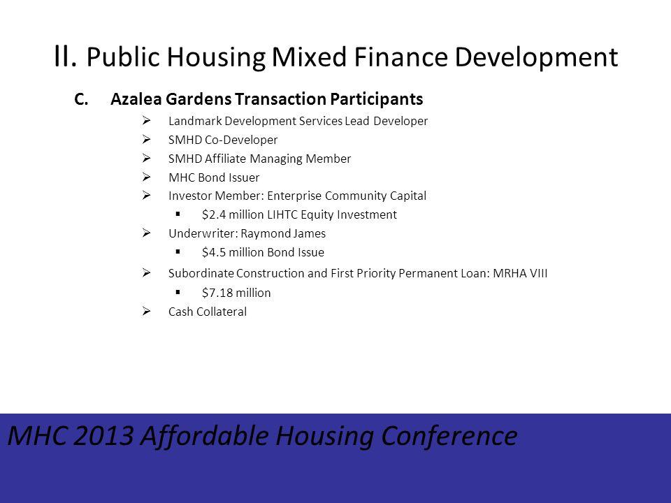 II. Public Housing Mixed Finance Development C.Azalea Gardens Transaction Participants Landmark Development Services Lead Developer SMHD Co-Developer