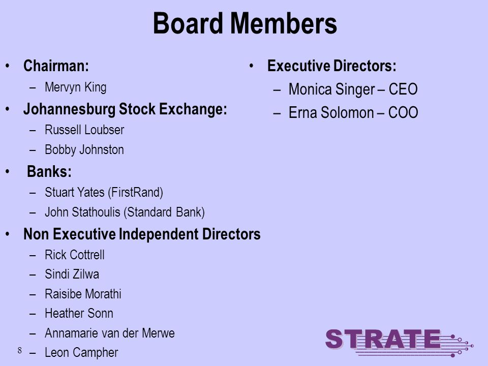 8 Board Members Chairman: –Mervyn King Johannesburg Stock Exchange: –Russell Loubser –Bobby Johnston Banks: –Stuart Yates (FirstRand) –John Stathoulis (Standard Bank) Non Executive Independent Directors –Rick Cottrell –Sindi Zilwa –Raisibe Morathi –Heather Sonn –Annamarie van der Merwe –Leon Campher Executive Directors: –Monica Singer – CEO –Erna Solomon – COO