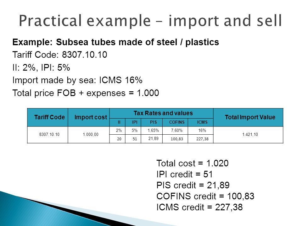 Example: Subsea tubes made of steel / plastics Tariff Code: 8307.10.10 II: 2%, IPI: 5% Import made by sea: ICMS 16% Total price FOB + expenses = 1.000