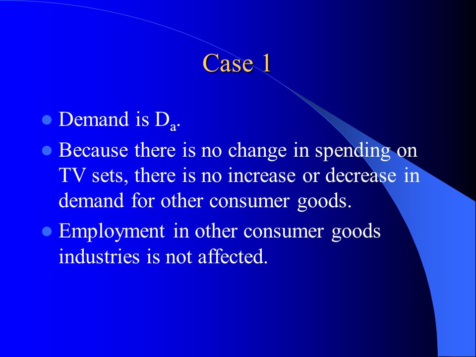 Case 1 Demand is D a. Because there is no change in spending on TV sets, there is no increase or decrease in demand for other consumer goods. Employme