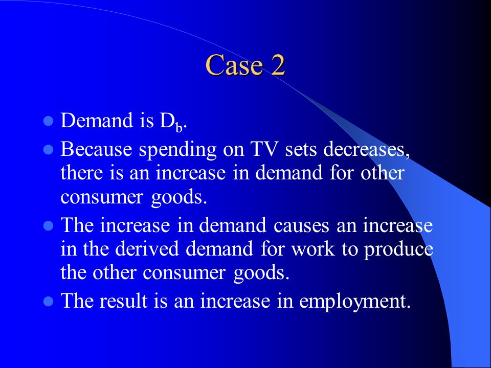 Case 2 Demand is D b. Because spending on TV sets decreases, there is an increase in demand for other consumer goods. The increase in demand causes an