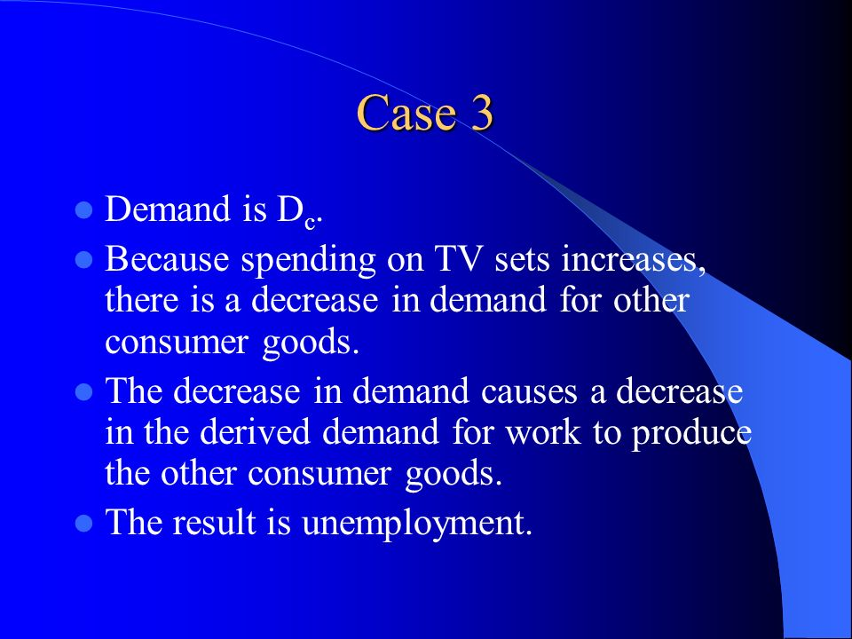 Case 3 Demand is D c. Because spending on TV sets increases, there is a decrease in demand for other consumer goods. The decrease in demand causes a d