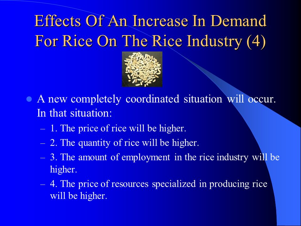 Effects Of An Increase In Demand For Rice On The Rice Industry (4) A new completely coordinated situation will occur. In that situation: – 1. The pric
