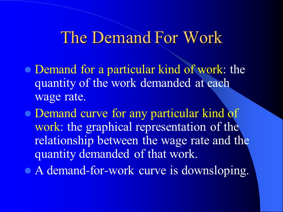 The Demand For Work Demand for a particular kind of work: the quantity of the work demanded at each wage rate. Demand curve for any particular kind of