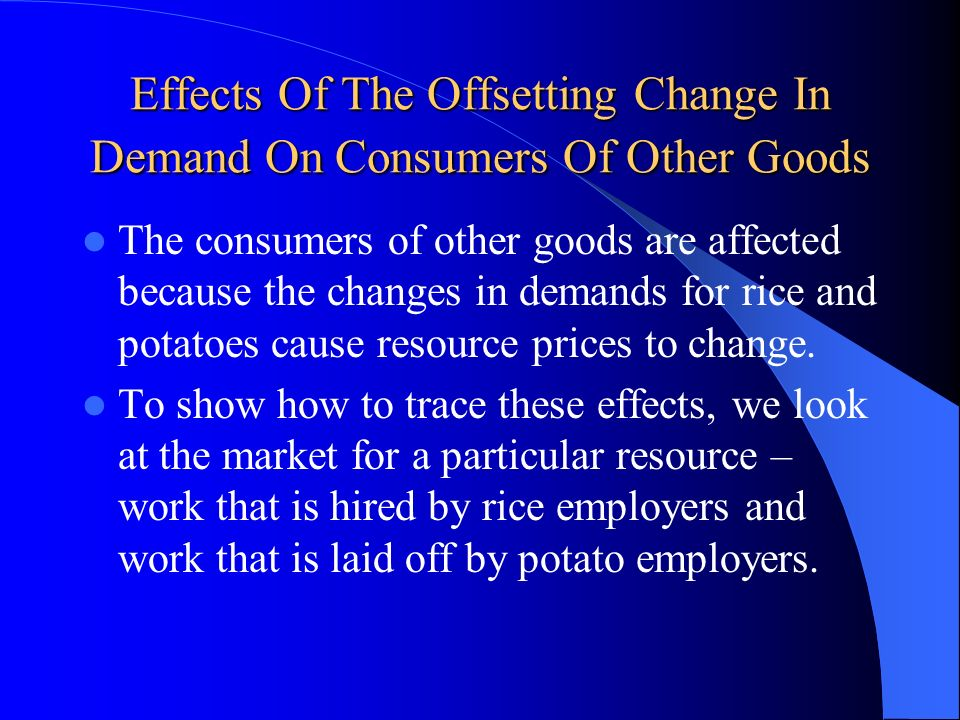 Effects Of The Offsetting Change In Demand On Consumers Of Other Goods The consumers of other goods are affected because the changes in demands for ri