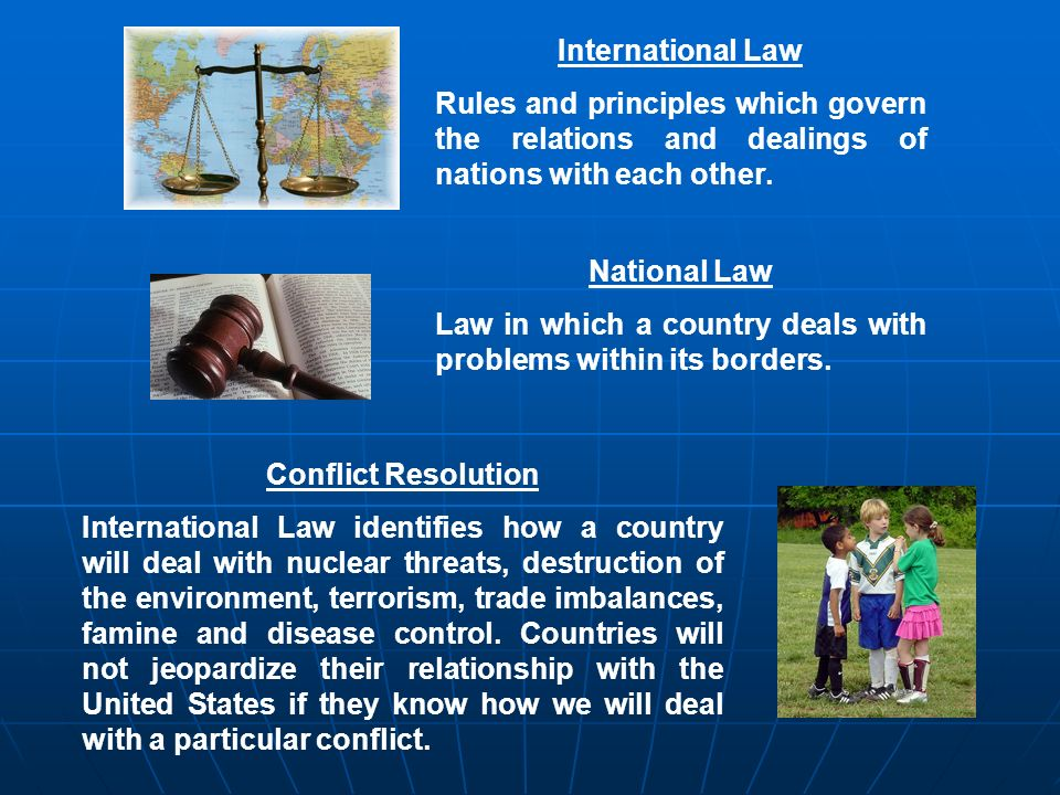 International Law Rules and principles which govern the relations and dealings of nations with each other. National Law Law in which a country deals w