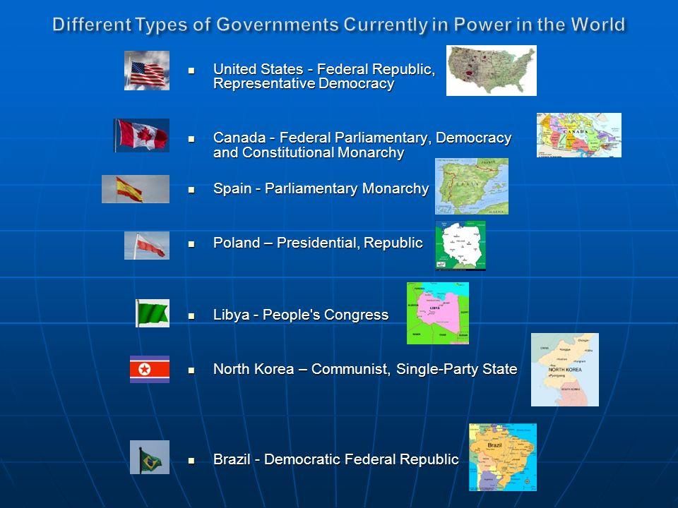 United States - Federal Republic, Representative Democracy United States - Federal Republic, Representative Democracy Canada - Federal Parliamentary,