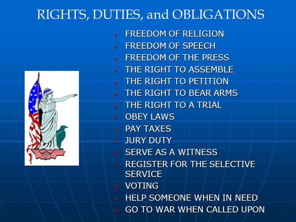 FREEDOM OF RELIGION FREEDOM OF RELIGION FREEDOM OF SPEECH FREEDOM OF SPEECH FREEDOM OF THE PRESS FREEDOM OF THE PRESS THE RIGHT TO ASSEMBLE THE RIGHT