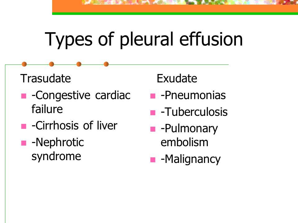 Types of pleural effusion Trasudate -Congestive cardiac failure -Cirrhosis of liver -Nephrotic syndrome Exudate -Pneumonias -Tuberculosis -Pulmonary e