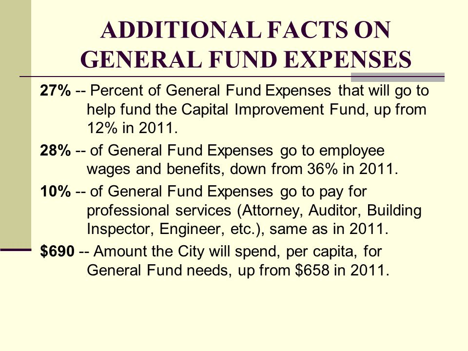 ADDITIONAL FACTS ON GENERAL FUND EXPENSES 27% -- Percent of General Fund Expenses that will go to help fund the Capital Improvement Fund, up from 12%