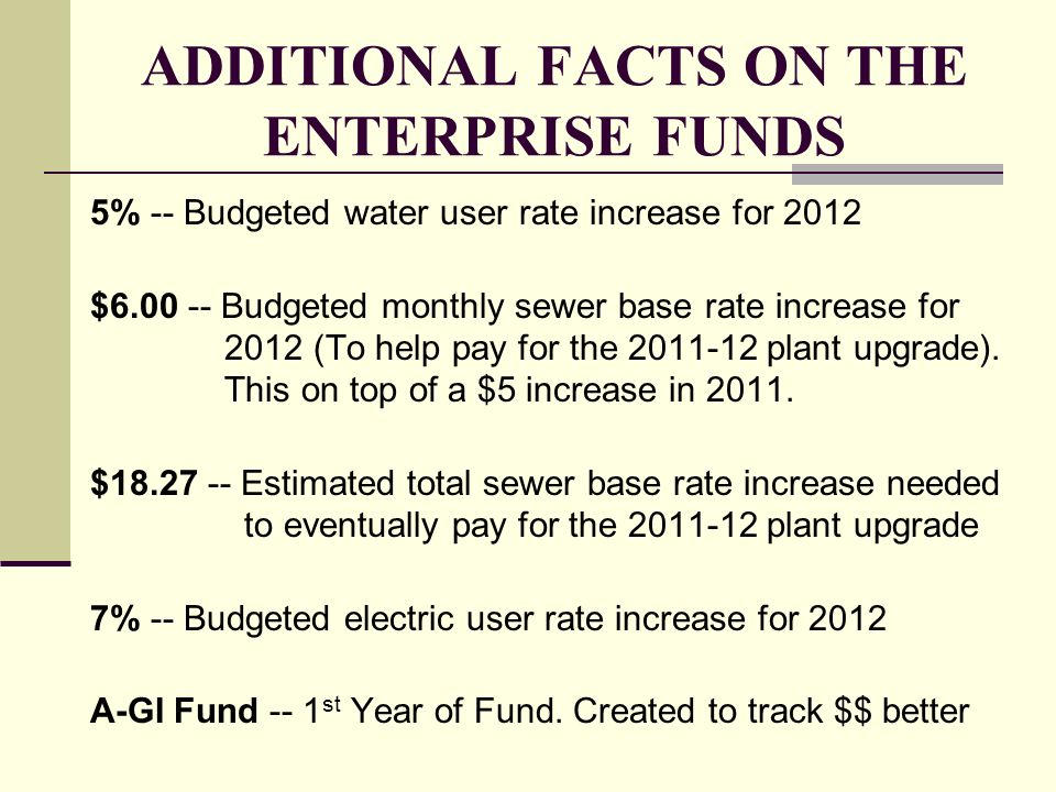 ADDITIONAL FACTS ON THE ENTERPRISE FUNDS 5% -- Budgeted water user rate increase for 2012 $6.00 -- Budgeted monthly sewer base rate increase for 2012