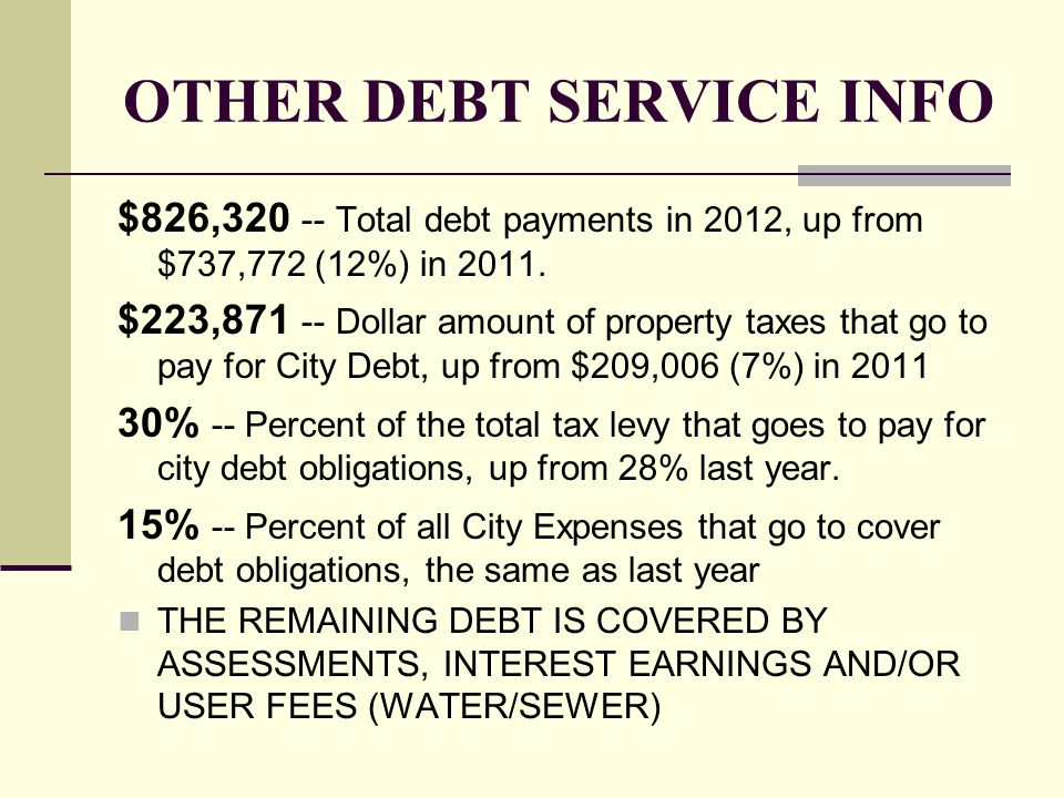 OTHER DEBT SERVICE INFO $826,320 -- Total debt payments in 2012, up from $737,772 (12%) in 2011. $223,871 -- Dollar amount of property taxes that go t