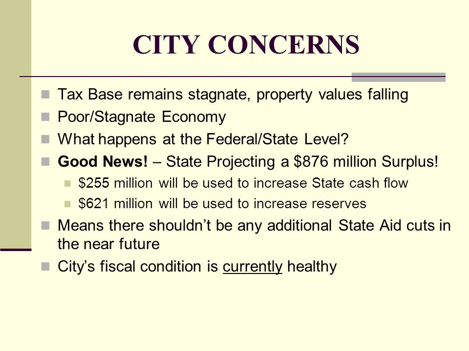 CITY CONCERNS Tax Base remains stagnate, property values falling Poor/Stagnate Economy What happens at the Federal/State Level? Good News! – State Pro