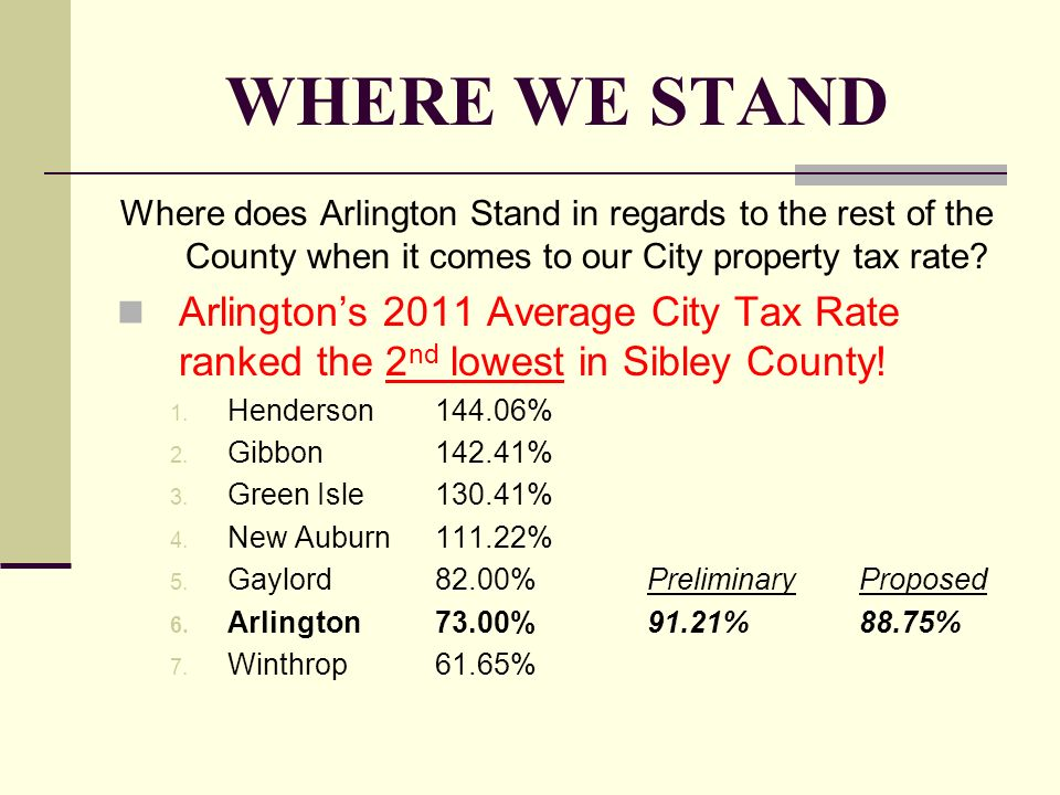 WHERE WE STAND Where does Arlington Stand in regards to the rest of the County when it comes to our City property tax rate? Arlingtons 2011 Average Ci